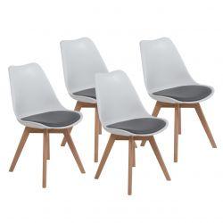 4x białe krzesło styl skandynawski do jadalni