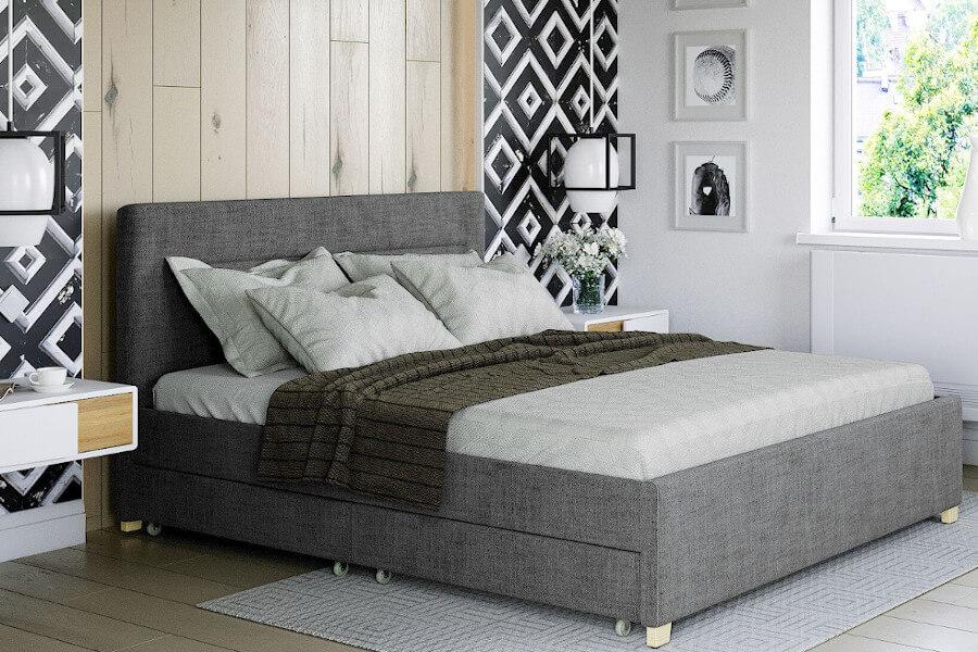 Łóżko tapicerowane szare z szufladami