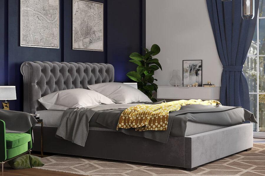 Łóżko z pikowanym zagłówkiem