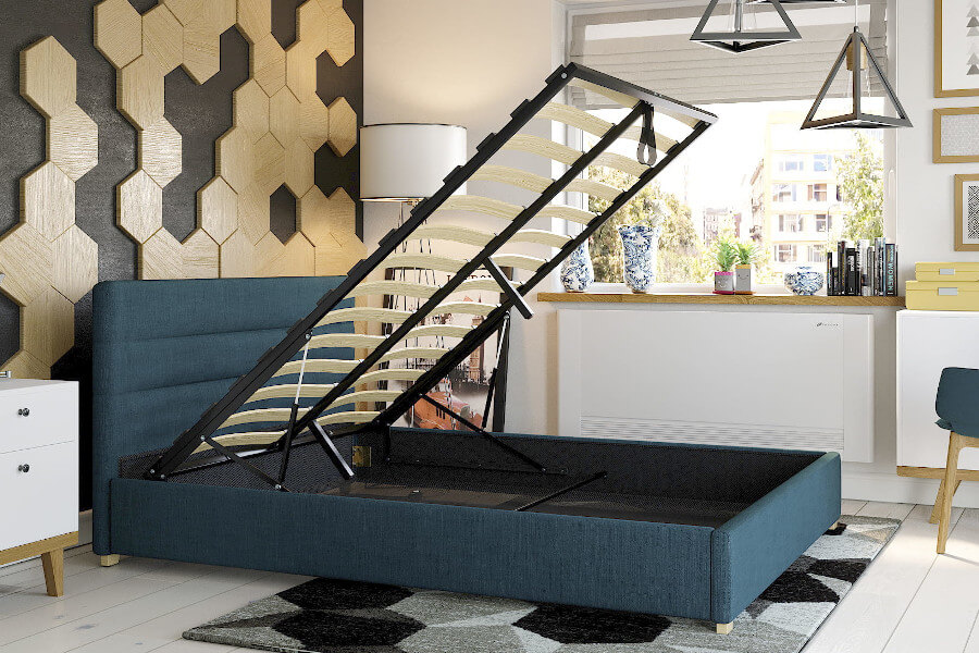 Łóżko tapicerowane z pojemnikiem