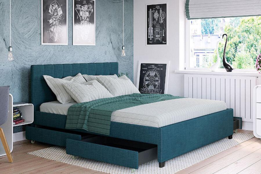 Łóżko z zagłówkiem i szufladami tapicerowane