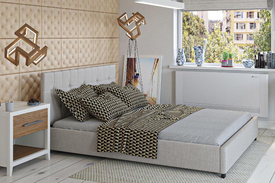 Beżowe łóżko ze skrzynią