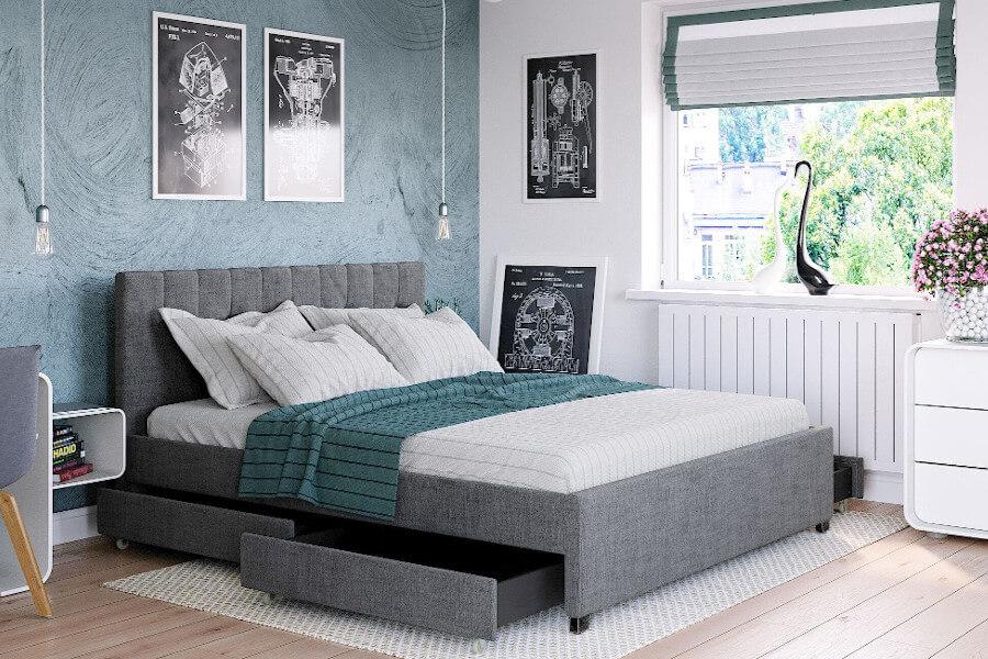 Skandynawskie łóżko tapicerowane