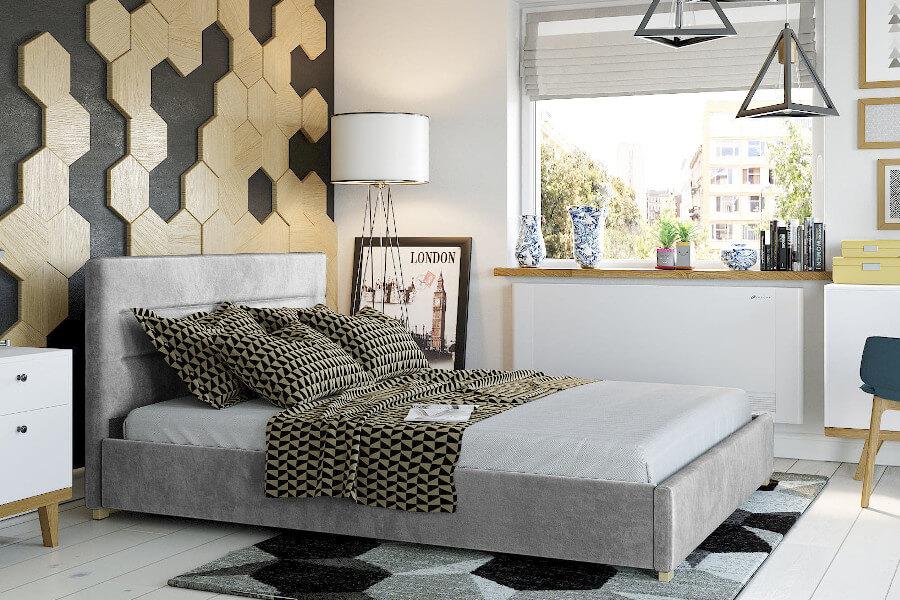 Welurowe łóżko małżeńskie 160x200 z pojemnikiem