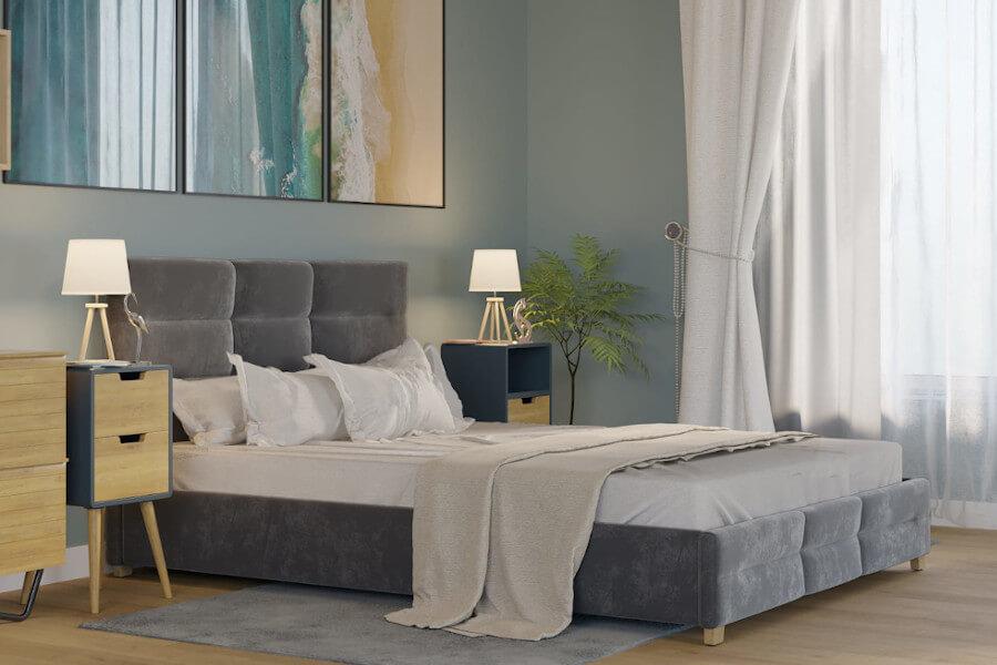 Łóżko welurowe 160x200 z pojemnikiem