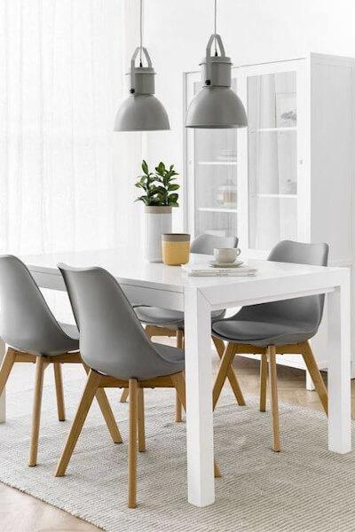 Krzesła do białego stołu - szare skandynawskie z poduszką