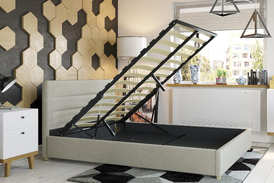Łóżko tapicerowane ze stelażem