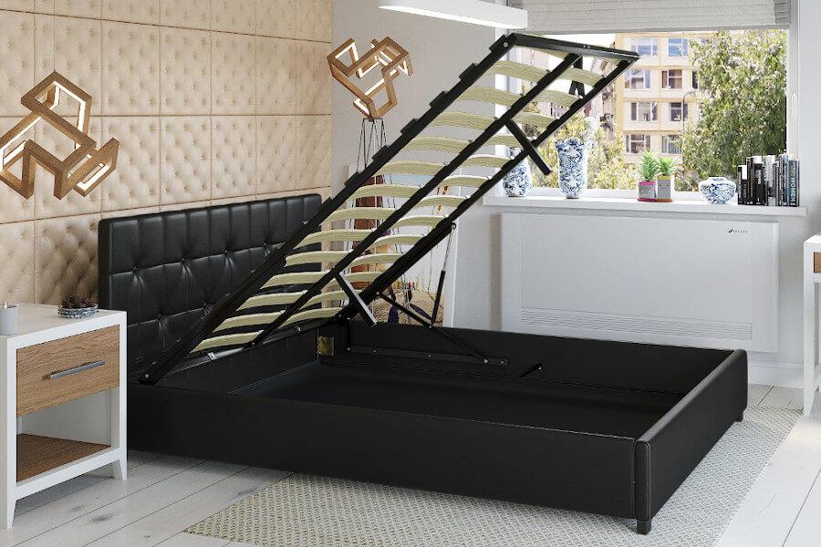 Łóżko młodzieżowe tapicerowane ekoskórą czarne
