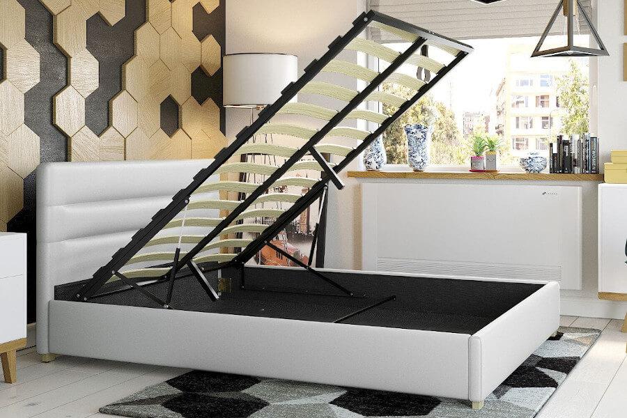 Łóżko tapicerowane ekoskórą białe z pojemnikiem