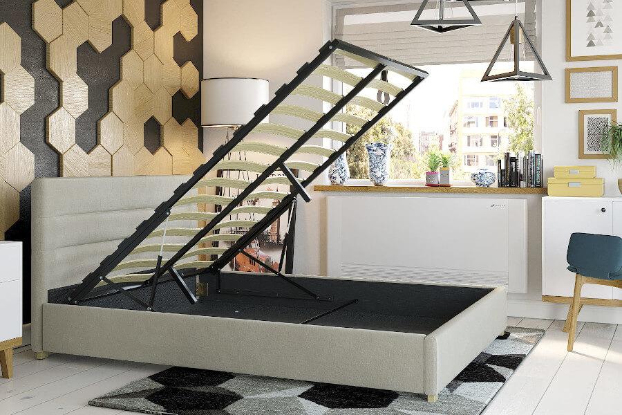 Tapicerowane łóżko ze stelażem i pojemnikiem na pościel