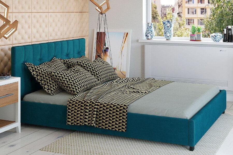 Turkusowe łóżko welurowe z podnoszonym stelażem