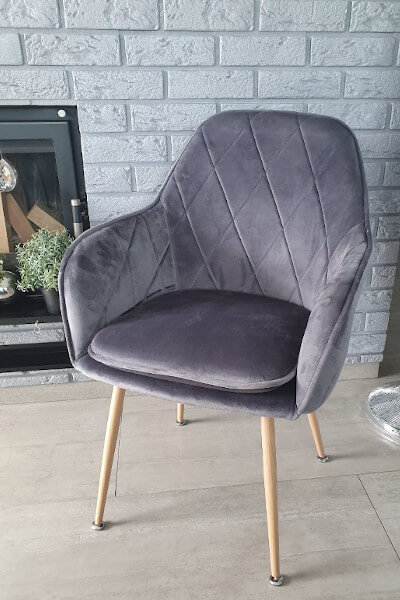 Krzesło kubełkowe welurowe szare