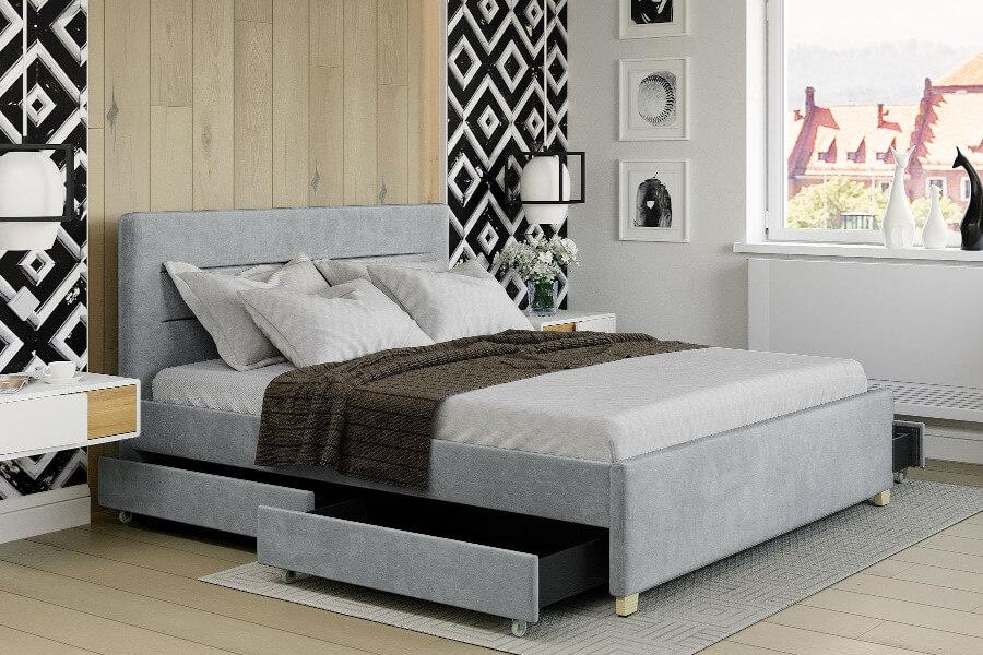 Łóżko młodzieżowe tapicerowane welurem dziewczęce szare