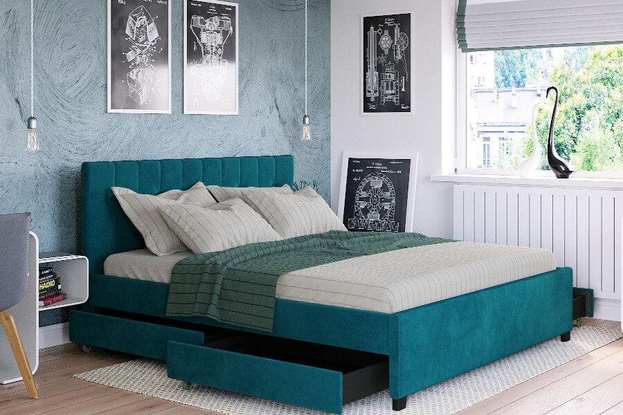 Łóżko młodzieżowe welurowe turkusowe z szufladami
