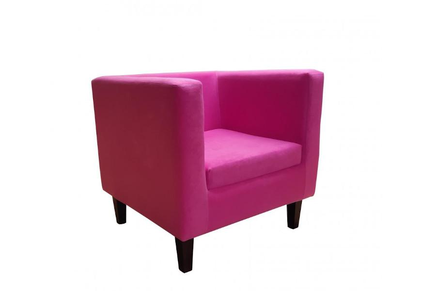 Nowoczesny fotel na poczekalnię salonu fryzjerskiego różowy fuksja