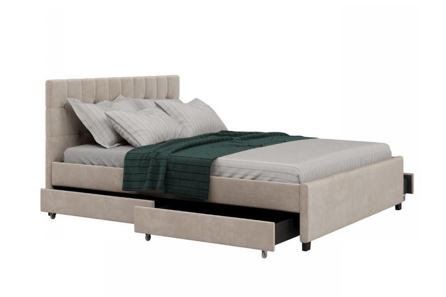 Łóżko jednoosobowe 120x200 z szufladami beżowe