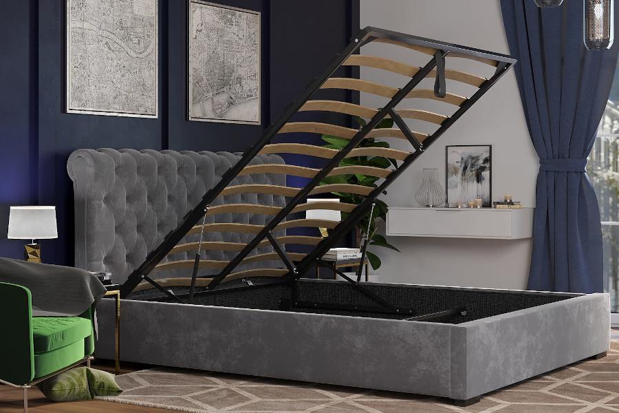 Welurowe łóżko glamour szare z pojemnikiem