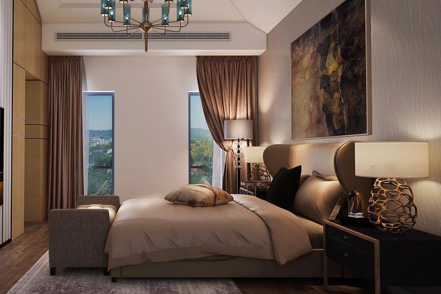 Sypialnia glamour łóżko szare z zagłówkiem