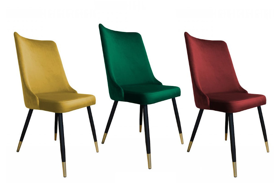 Loft krzesła velvet - butelkowa zieleń, miodowe, bordo