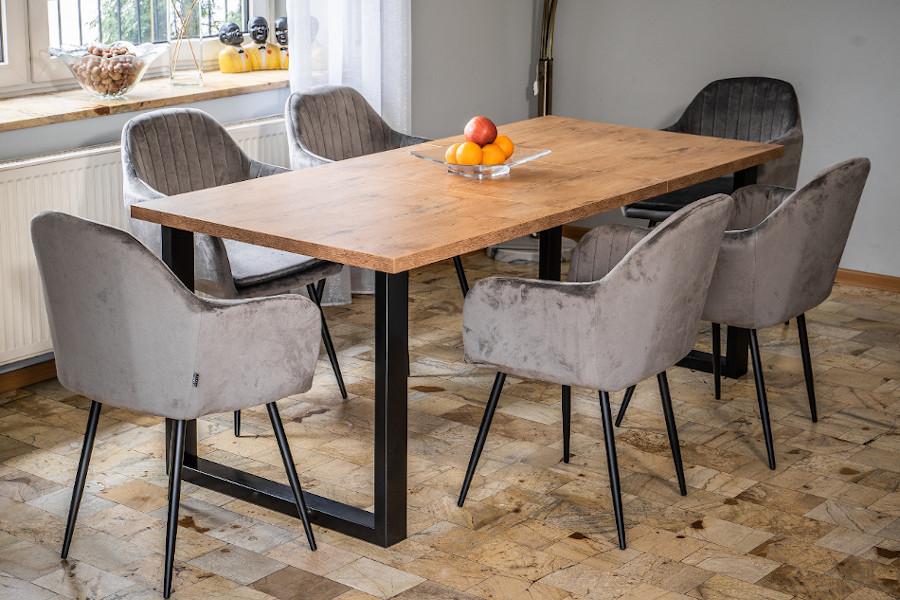 Stół loftowy do jadalni - duży blat, metalowe czarne nogi